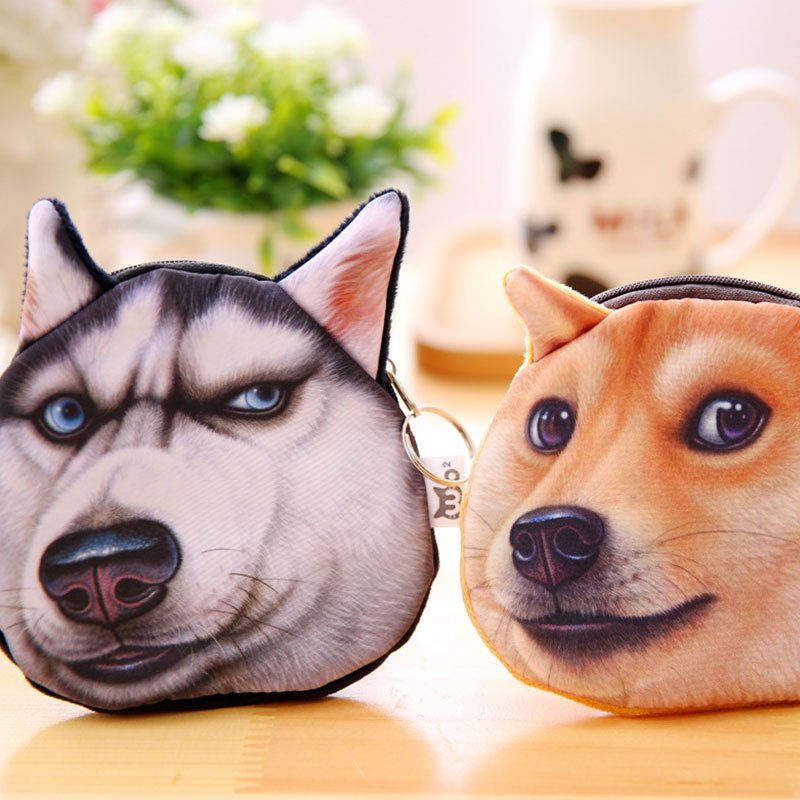 Yesello 3D Printed Pattern Wicked Dog Childrens Purse Doge Coin Purse Husky Dog Tide Small Purse Women Coin Mini Bag
