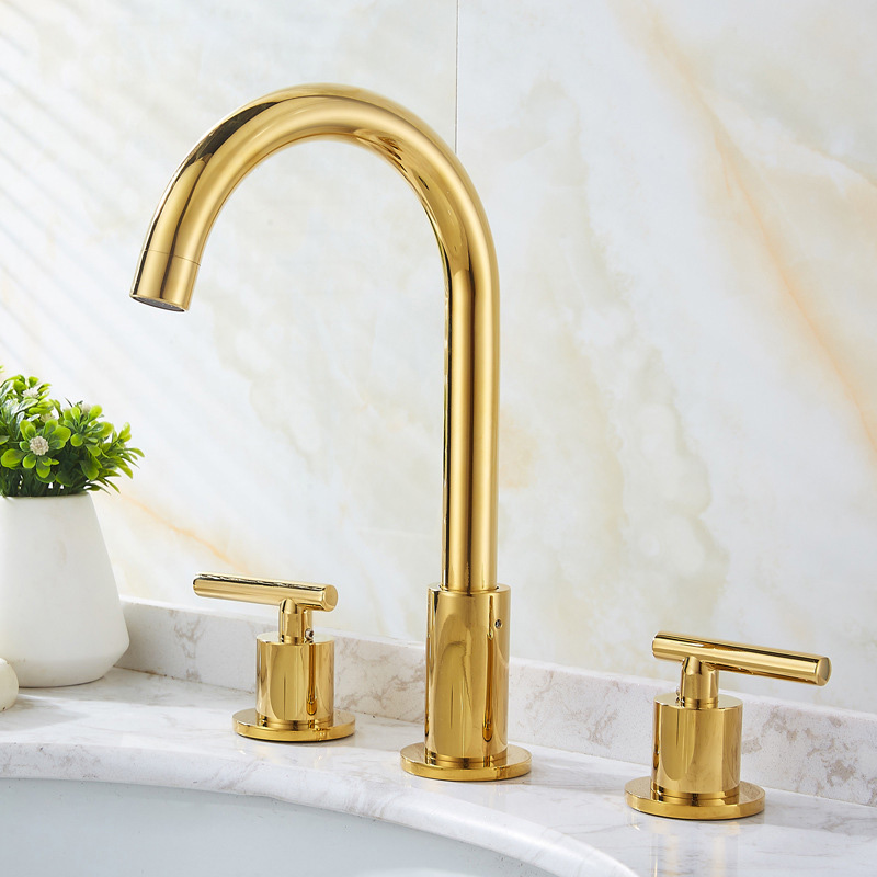 Basin Faucets Gold/Chrome Brass Polished Deck Mounted Square Bathroom Sink Faucets 3 Hole Double Handle Hot and Cold Water Taps