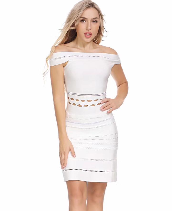 Robe Noir Blanc Bandage Moulante Rayonne Partie Tricoté Noir blanc Qualité 2018 Sexy Off Épaule Top Élastique N8n0wvmO