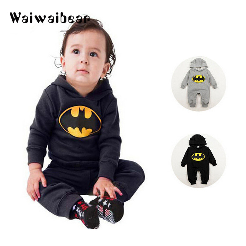 Newborn Baby Batman Hooded Rompers Autumn Winter Long Sleeve Romper Infant Baby Cute Cartoon Bat Romper Costume