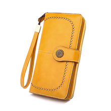 long wallet women double zipper yellow doble cero oil wax coating Leather wallets womens and purses monederos para mujer 2019