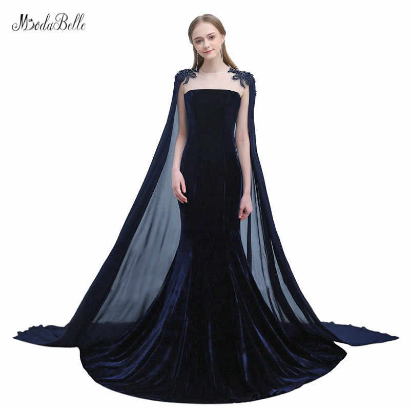 modabelle Beading Sequins Navy Blue Evening Dresses With Cape Avond Jurk Plus  Size Formal Dresses Robe 482f72bff429