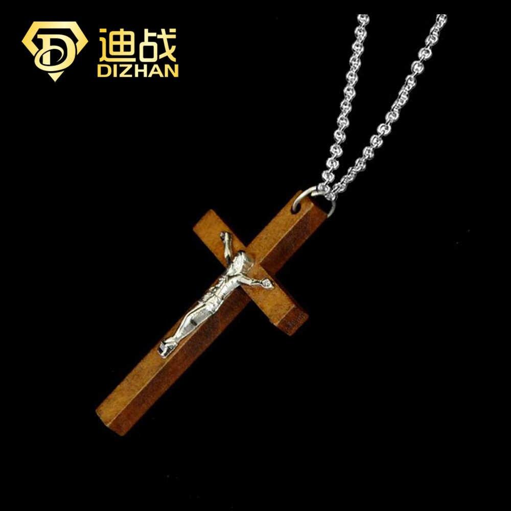 แฟชั่นคาทอลิกเครื่องประดับไม้ Cross Charm Collier สร้อยคอพระเยซูจี้สำหรับหญิงเครื่องประดับของขวัญขายส่ง