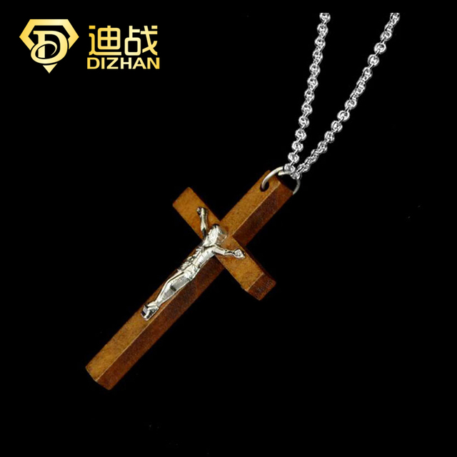 145b5180a43 Fashion Catholic Jewelry Wooden Cross Charm Collier Necklace for Women  Jesus Pendant For Female Gift Jewelry