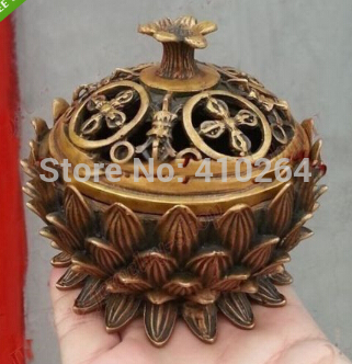 Shipping Chinese Collection Ancient Bronze Lotus Statues Precious Lucky Incense Burner