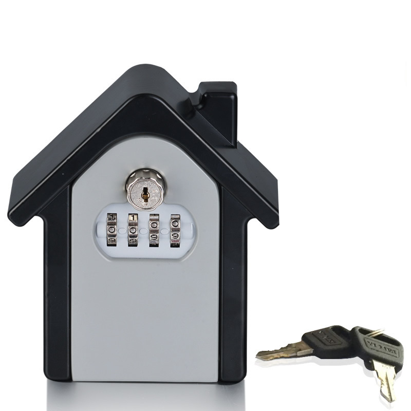 Heavy Duty Wall Mounted Key Safe Box 4-Digital Password Lock Spare Keys ID Cards Hidden Storage Case Organizer For Home Hotel