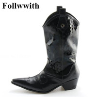 2018 Hot Sales Fashion Patent Leather Knee High Top Quality Men Boots Print Leather Follwwith Drand Design Square Heel Men Shoes