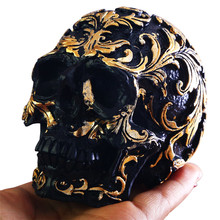 1PC Black Gold Skull Sculpture Handicrafts Artware Hand Carving Home Decoration Halloween Party Unique Gifts