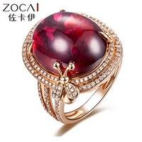 ZOCAI Топ Роскошный серии 14,50 КТ RED Турмалин 0,54 CT DIAMOND турмалина кольцо 18 К розовое золото SR706T