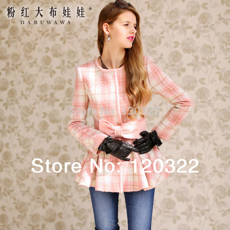 dabuwawa 2016 Brand Autumn and Winter Pink Plaid Bow Slim Casual Elegant Wool Long Women Casacos