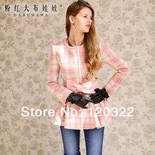 dabuwawa 2016 Brand Autumn and Winter Pink Plaid Bow Slim Casual Elegant Wool Long Women Casacos