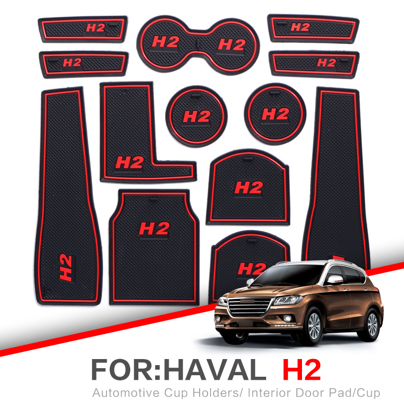 ZUNDUO For Great Wall Haval H2 2016-2018 Gate Slot Pad Automobile Dust Mats Cup Holders Car Mat Anti Slip , Non-slip RED WHITE