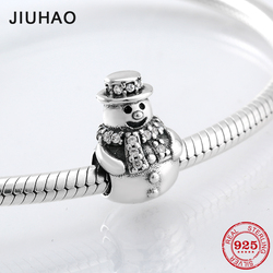 Christmas gift 925 Sterling Silver snowman charm bead fashion luxury clear CZ tie Fit Original Pandora Charm Bracelet Jewelry