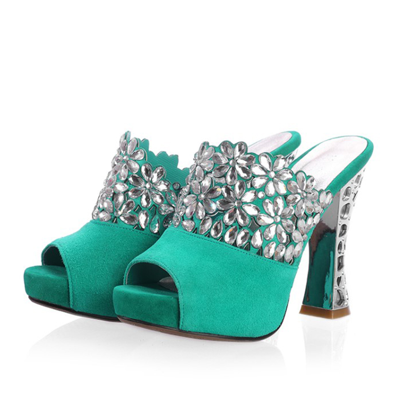 2019 big size 42 quality kid suede leather crystal party women Shoes high heels summer sexy platform Mules Pumps sandals woman