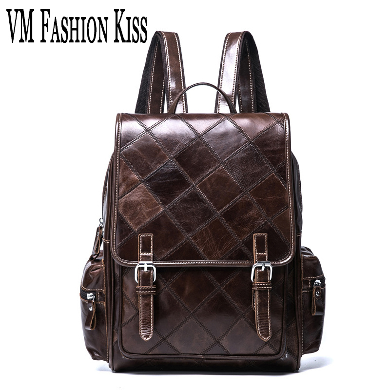 VM FASHION KISS Crazy Horse Cowhide Vintage Backpack Men Genuine Leather Plaid Female Backpack Laptop Daily Travel Backpacks kiss kiss crazy nights 180 gr