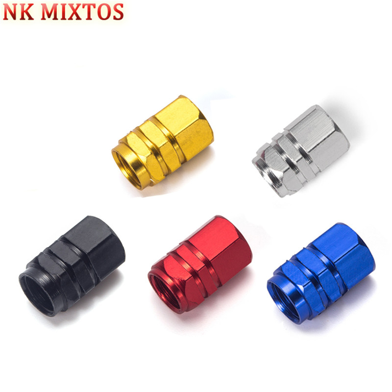 NK MIXTOS 4PCS Aluminum Alloy Valve Cap Bike Cap Bike Bicycle Cycling Tire Leak Valve Cover Gas Nozzle 5 Colors Tool Parts