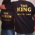 КОРОЛЬ СВОЕЙ КОРОЛЕВЫ ЗВЕЗДА Футболка Женщины Мужчины Мужская король и королева Пары Рубашка Черное Золото майка Летом Стиль майки Топы