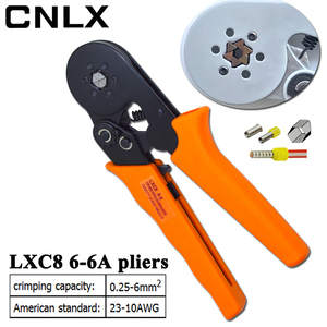 Image 2 - LXC8 6 6R crimping pliers electronic tubular terminal box mini brand pliers tool LXC8 0.25 6mm2 23 10AWG carbon steel electrical