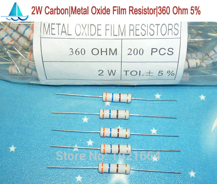 200 pcs Bag of 100 Resistor Carbon Film 360 Ohm 1//4 Watt 5/%