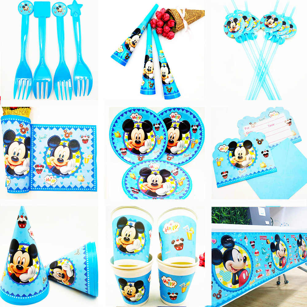 Mickey Mouse Kids Birthday Party Decoration Set Party Supplies cup plate banner hat straw loot bag fork cup plate tablecloth cap