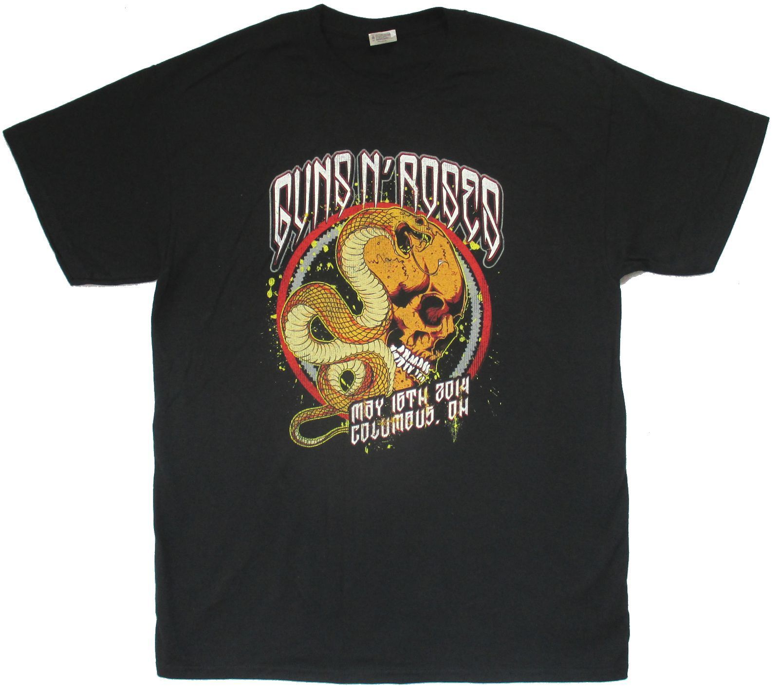 GUNS N ROSES SNAKE SKULL OHIO 2014 EVENT BLACK T-SHIRT NEW OFFICIAL