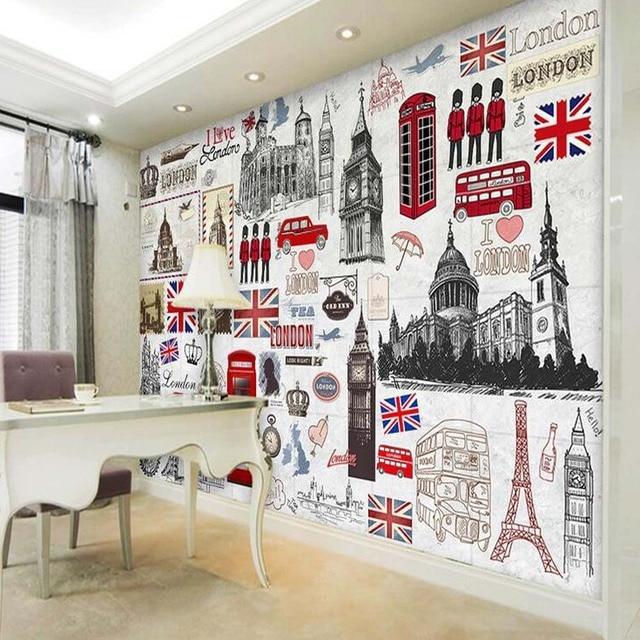 European retro london wall mural 3d poster murals - Poster mural 3d ...