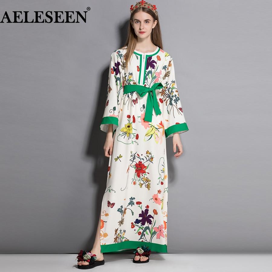 AELESEEN 2018 Fall Plus Size New Women Dresses Garden Flower Belt Fashion XXXL Print Full Sleeve