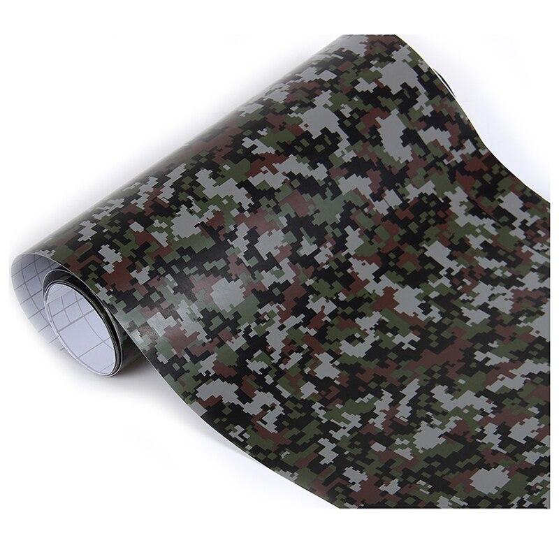 1 roll Camo Car Sticker Carbon Fiber Motorcycle PVC Vinyl Army Sticker CAMO Woodland Camouflage Sticker black digital 152x60cm цена и фото