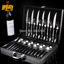 Hot New 24picecs/set Jazz odd full set of high-grade stainless steel steak knife and fork Western tableware spoon Deluxe Gift