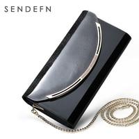Sendefn Genuine Leather Women Day Clutches Shoulder Bag Women Handbag Fashion Women Clutch Purse Evening Metal