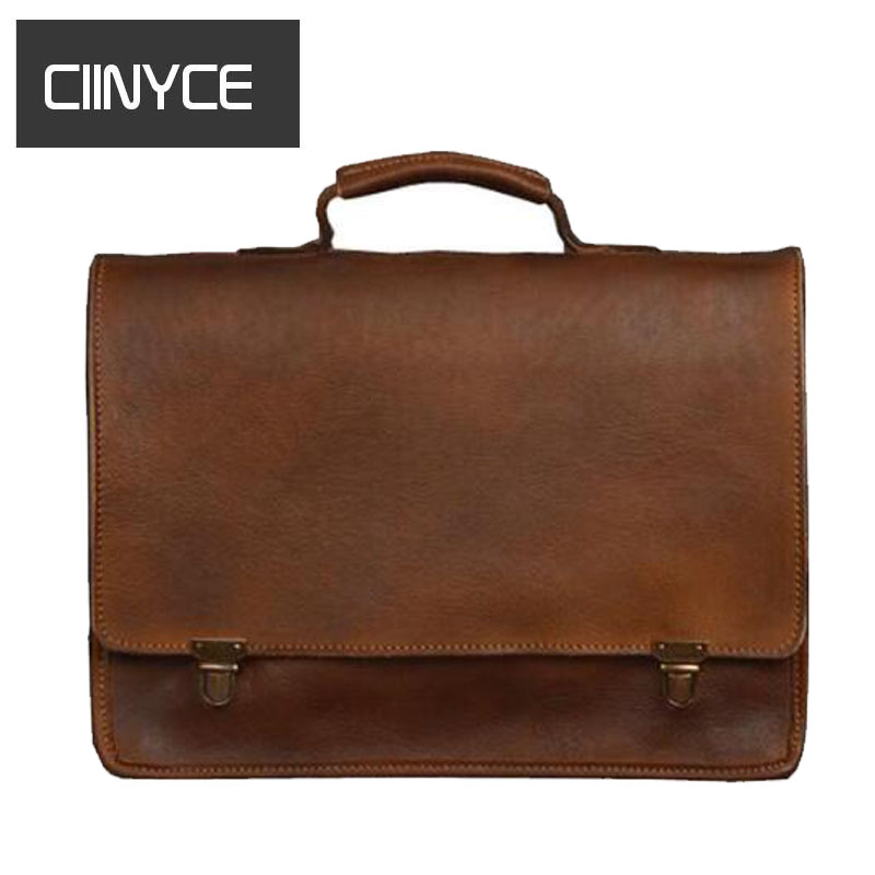 Vintag Cowhide male Briefcase Genuine Cow leather Business Shoulder Crossbody Quality Stylish Brand Handbags Tote Bag for Man men genuine leather bag messenger bag man crossbody large shoulder bag business tote briefcase brand handbags laptop briefcase
