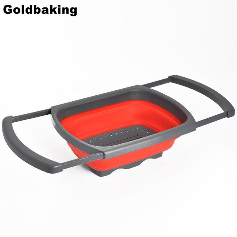 Collapsible Over the Sink Silicone Colander With Handle Kitchen Folding Strainer Red & Green Option 6-quart Capacity