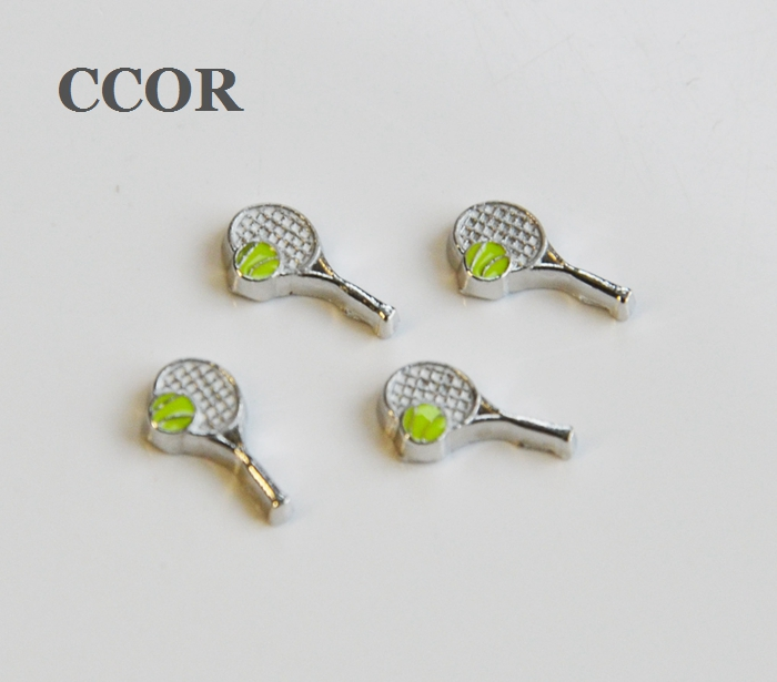 10pcs Beautiful Tennis Racket Floating Charms Fit For Lockets, Gifts