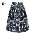DayLook Summer Style Skirts Womens Elegant  Black&Dark Blue Pelican Print Skater Skirt Empire Vintage Skater Midi Pleated Skirt