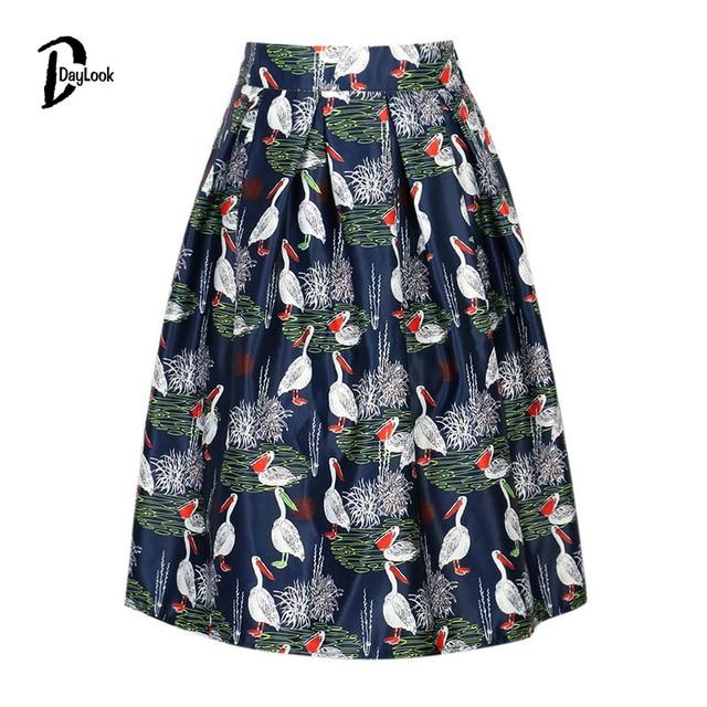bc155bf9e200 DayLook Summer Style Skirts Womens Elegant Black&Dark Blue Pelican Print Skater  Skirt Empire Vintage Skater Midi Pleated Skirt