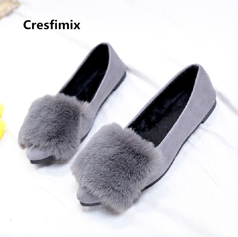 Cresfimix zapatos de mujer women cute pointed toe grey winter warm flat shoes lady casual high quality slip on shoes a3195 цена