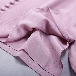 Image 5 - Blusa feminina camisa dupla camada 100% seda design simples decote em v manga longa sólida 2 cores escritório topo nova moda primavera 2019