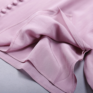 Image 5 - Bluse Frauen Hemd Doppel schicht 100% Seide Einfache Design V Neck Langarm Solide 2 Farben Büro Top Neue Mode frühling 2019