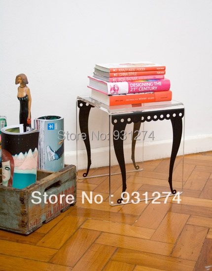 Acrylic Side End Table/Perspex Plexiglass Coffee Table/Bedside Table/Acrylic Furniture hot sale c shaped waterfall acrylic occasional side table