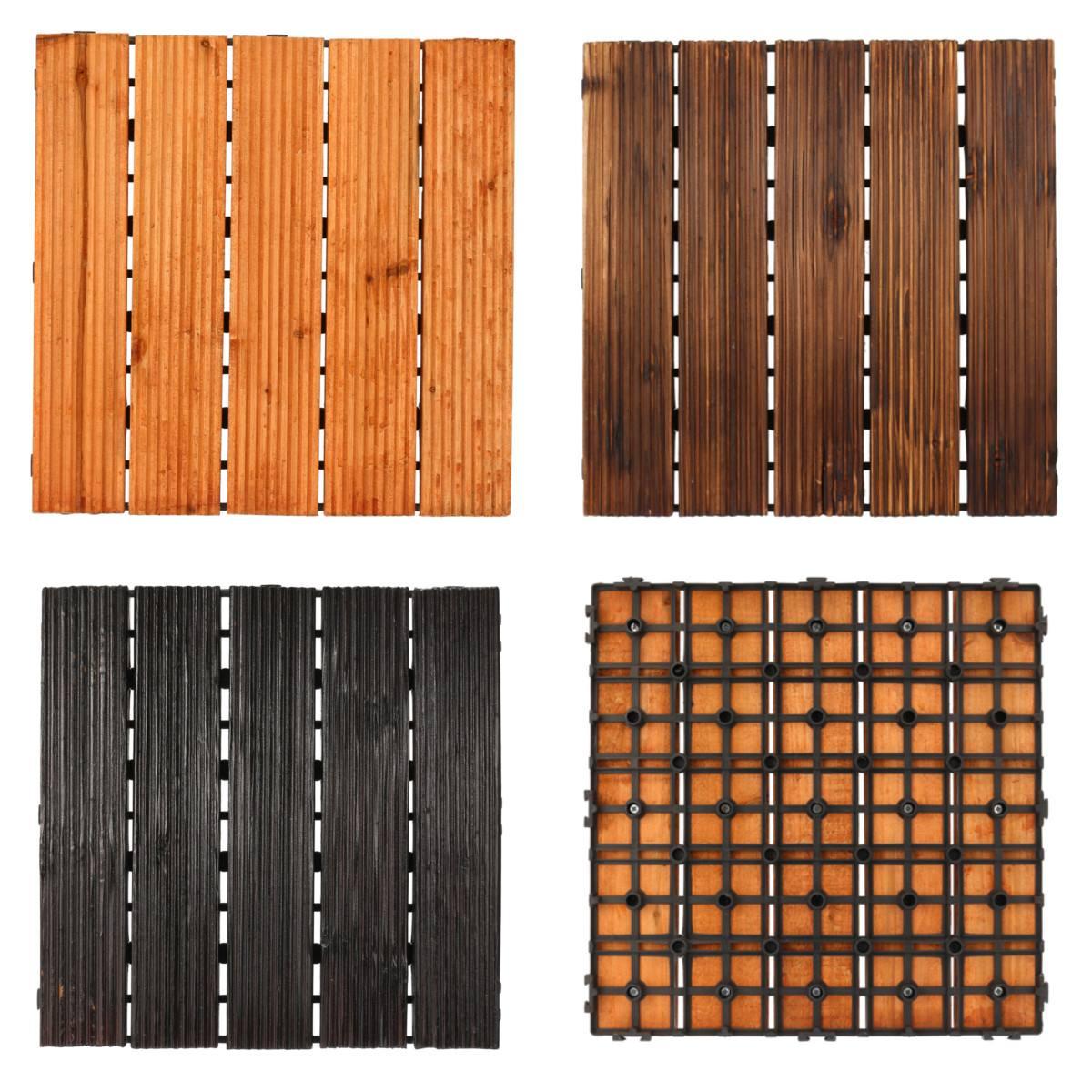 DIY Wood Patio Interlocking Flooring Decking Tile Indoor Outdoor Garden Floor Decoration Furniture Accessories 3 Colors 30x30cm
