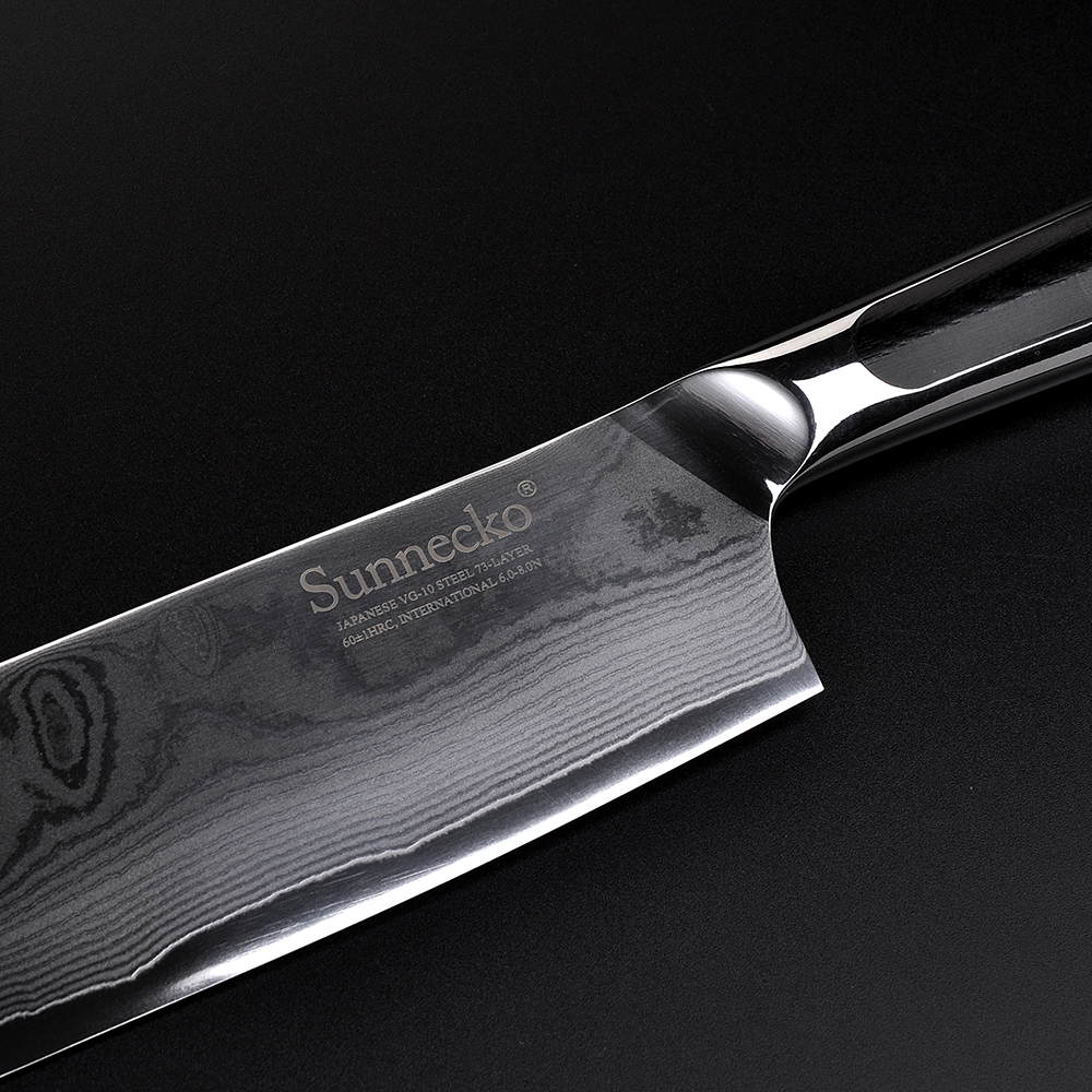 Sunnecko 7 quot Damascus Nakiri Knife 73 Layers Japanese VG10 Core Steel Blade Kitchen Cleaver Knives Vegetable Meat Cut G10 Handle in Kitchen Knives from Home amp Garden