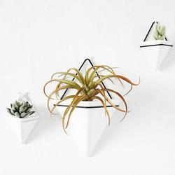 Nordic Succulent Plant Wall Mounted Flowerpot Container Iron Triangular Vase Simple Ceramic Self Water-Absorbing Planter Set