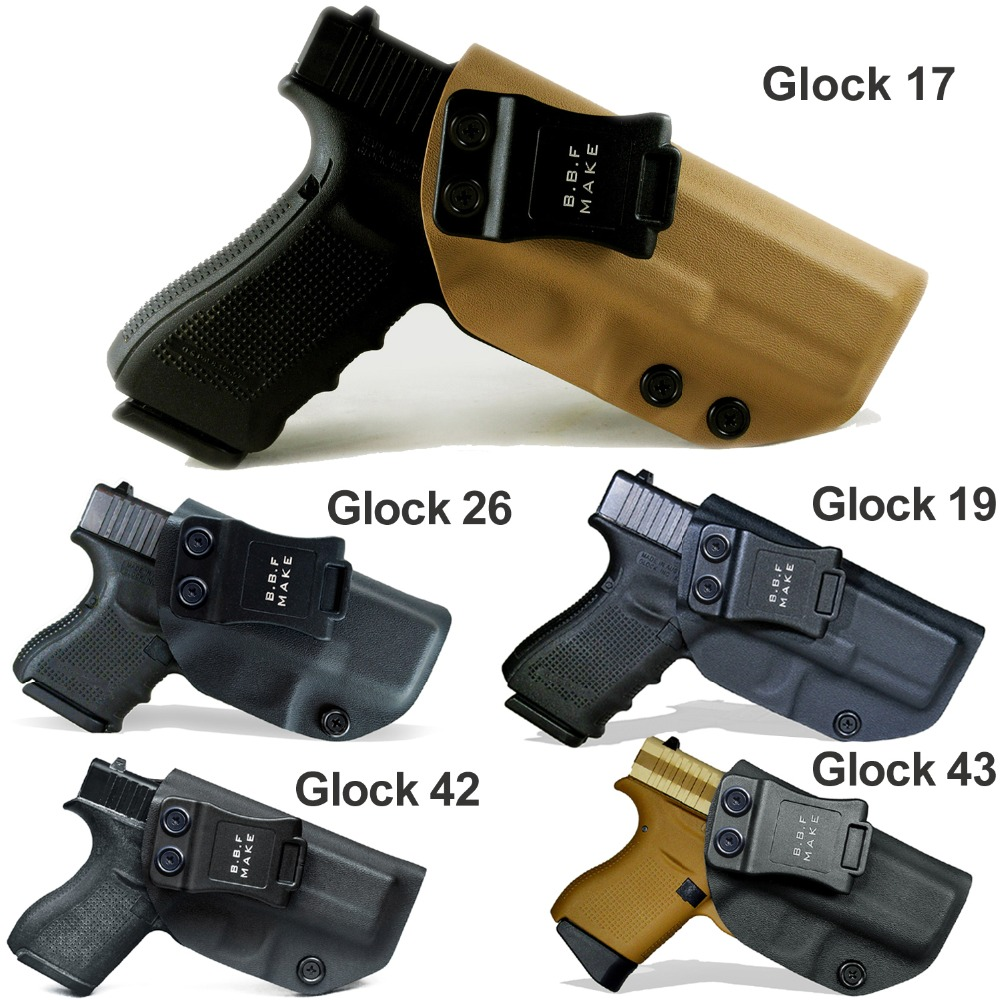 B.B.F Make IWB Tactical KYDEX Gun Holster Glock 19 17 25 26 27 28 43 22 23 31 32 Inside Concealed Carry Pistol Case Accessories