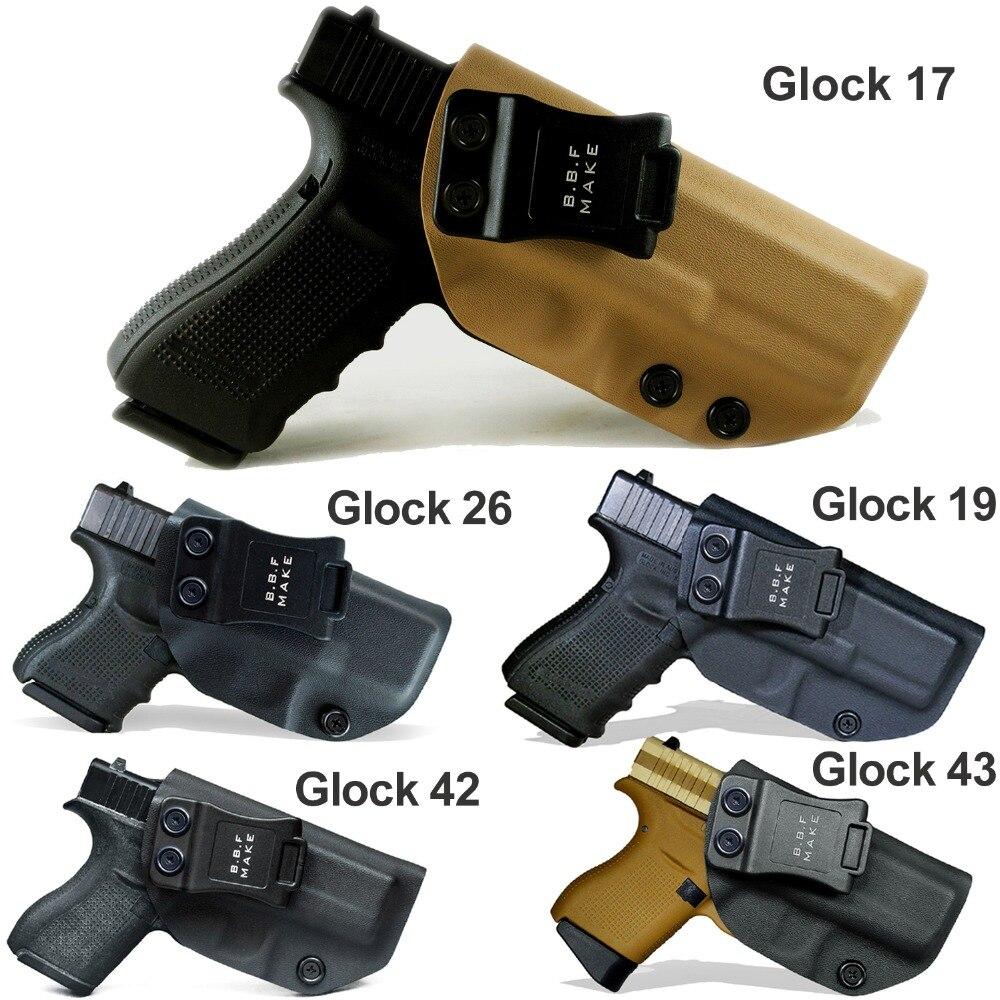 BBF Make IWB KYDEX Tático Coldre de Pistola Glock 19 17 25 26 27 28 43 22 23 31 32 Dentro ocultaram Transportar Caso Pistola Acessórios