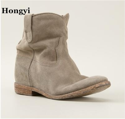 f97e46e02320 Women Ankle Boots Suede Autumn Shoes Flat Nubuck Leather Retro Distressed  Biker Boots Women Motorcycle Boots