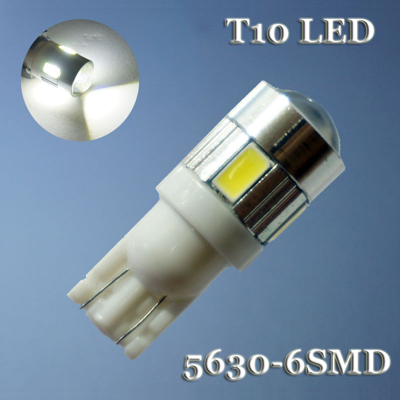 AORUNYEBAO 100Pcs T10 W5W 168 194 5630 5730 6SMD T10 LED Wedge bulb Side Bulbs Tail lights Parking Dome Door lamp 12V