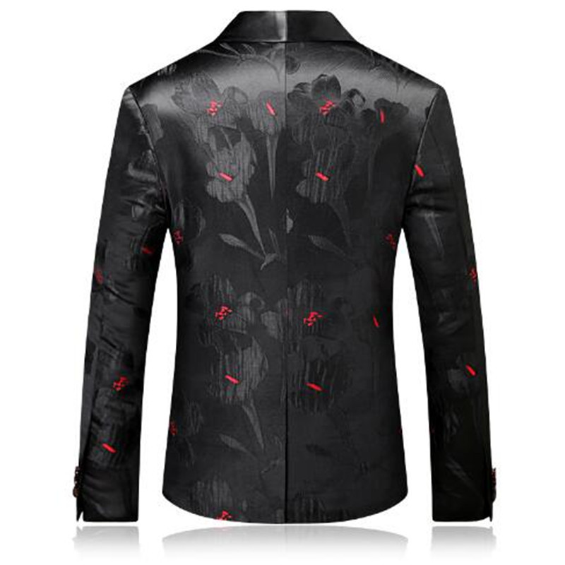 2018 Fashion Mens Printed Blazers Casual Slim Fit Prom Dress Blazer Men Black Floral Stage Wear Blazers Jacket for Men DT313 - 2