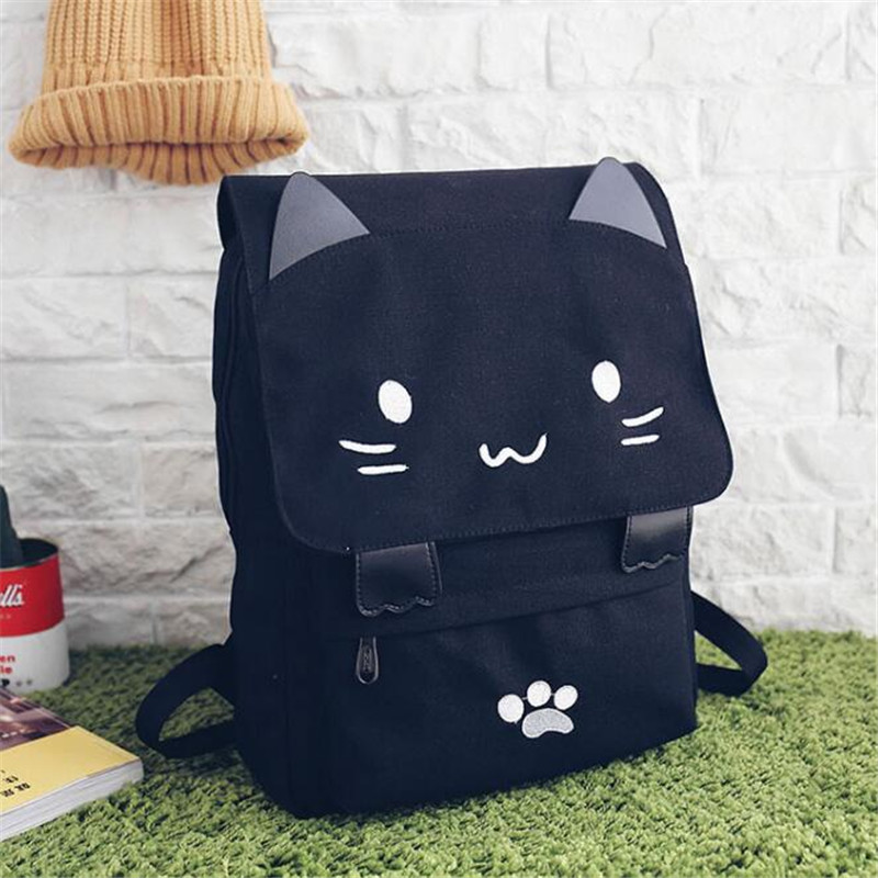 Harajuku Style Cartoon Cat Printing Backpack High School Students Shoulder Bag Women Canvas Backpack Girls Bag Mochila Rucksack #2