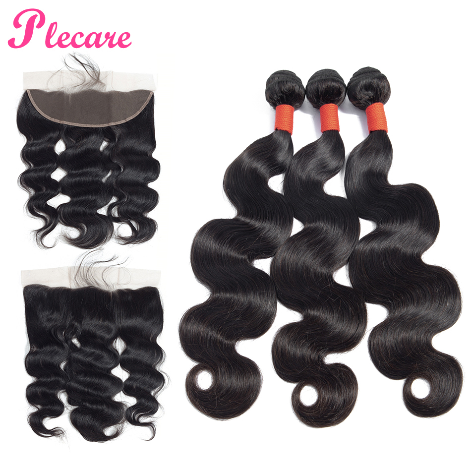 Plecare 3 Bundles With Frontal Peruvian Human Hair Weave Bundles With Closure Body Wave Bundles With