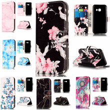 Wallet Leather Case For Samsung Galaxy A3 2017 Flip Case Colorful Marble Pattern Cover for Samsung A3 2017 A320 With Card Slot mooncase cross pattern flip pouch leather wallet slim stand чехол для samsung galaxy a3 hot pink